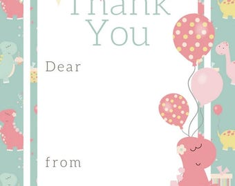 Pink Dino Thank You Notes