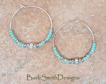 """Beaded Turquoise (Green) and Silver Hoop Earrings, Large 1 3/8"""" Diameter in Picasso Turquoise Green"""