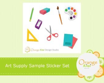 Art Supplies Stickers, Sample Sticker Set, Planner Stickers