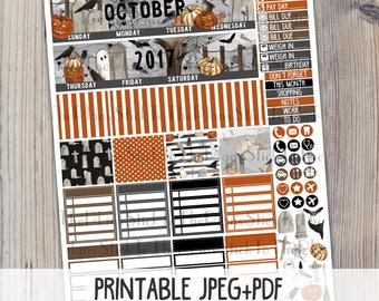 October Monthly printable planner stickers for your Erin Condren LifePlannerTM watercolor halloween graveyard ghost monthly sticker kit