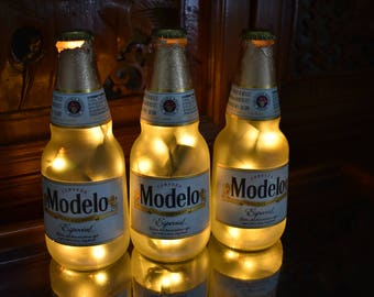 Beer light etsy modelo especial beer bottle light 3 pack frosted glass yellow lights bar light mozeypictures Images