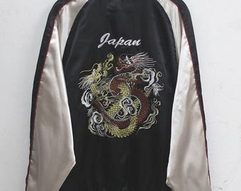 20% OFF Sukajan jacket Vintage Sukajan Jacket Dragon Traditional Japanese Embroidery Yokosuka Dragon Souvenir Satin Jacket & Coats sz LL