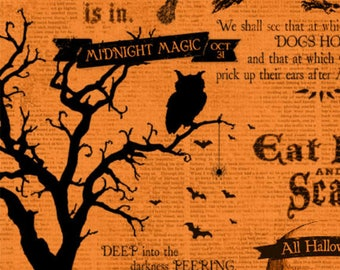 Wilmington Prints - Something Wicked 84380-899 Scripts on Orange **Half Yard Cuts**