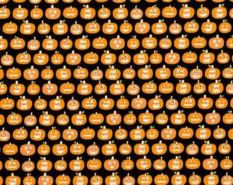 Riley Blake - Halloween Pumpkins GC4615 Black (Glow In The Dark) **Half Yard Cuts**