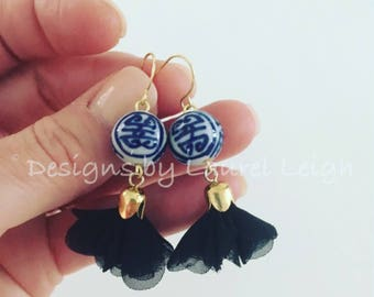 BLACK Chinoiserie Earrings | tulle, chiffon, gold, blue and white, dainty, lightweight