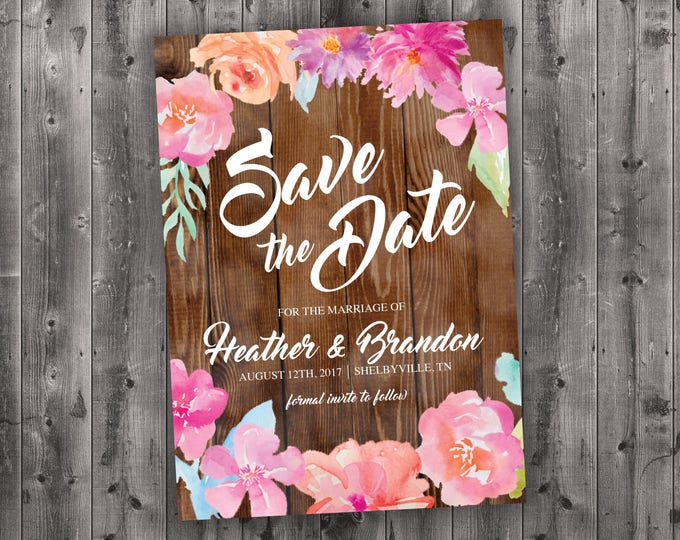 Wood Floral Wedding Save the Date Printed - Affordable, Vintage, Floral, Country, Water Color, Flowers, Cheap, Summer, Barn Wood