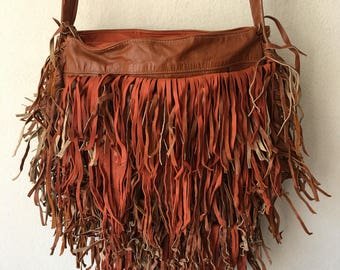 Real handmade crossbody bag recycling leather, with elements of fashionable leather fringe new women's orange & brown color bag size-small.