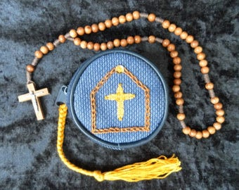 Hand embroidered rosary purse or coin purse and olive wood rosary