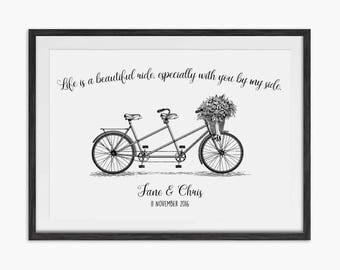 Personalised Tandem Bike Wedding Print