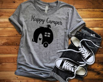 Happy Camper shirt, Happy Camper - Camping shirt, Outdoor shirt, Camping Life, Camper shirt, Camper - made by Enid and Elle