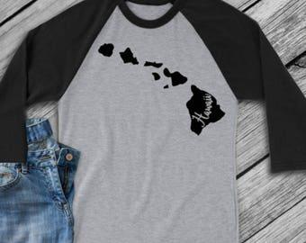 Hawaii t-shirt - Hawaii state shirt - Hawaii home t-shirt - home shirt - Hawaii baseball shirt - Hawaii raglan shirt - Enid and Elle