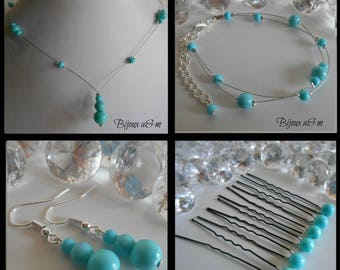 Set of 4 wedding pieces cascade of turquoise beads