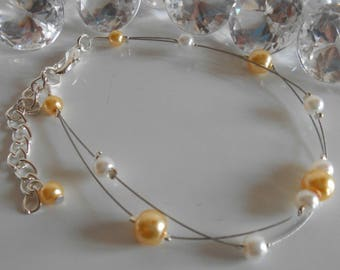 Bracelet wedding 2 row Pearl Gold yellow and white
