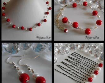 Set of 4 wedding pieces twist passion red and white beads