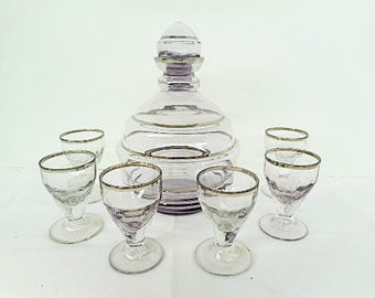 French Vintage Light Violet Liquor Carafe & 6 Glass Set (C459)