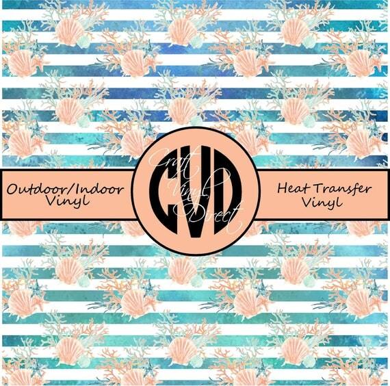 Sea Shell Patterned Vinyl // Patterned / Printed Vinyl // Outdoor and Heat Transfer Vinyl // Pattern 686