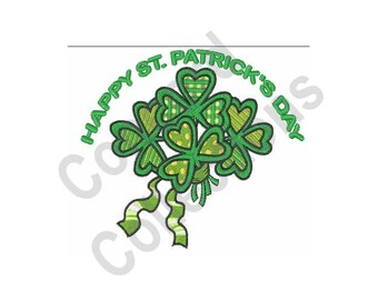 Happy St Patrick's Day - Machine Embroidery Design, Shamrock, St Patrick's Day