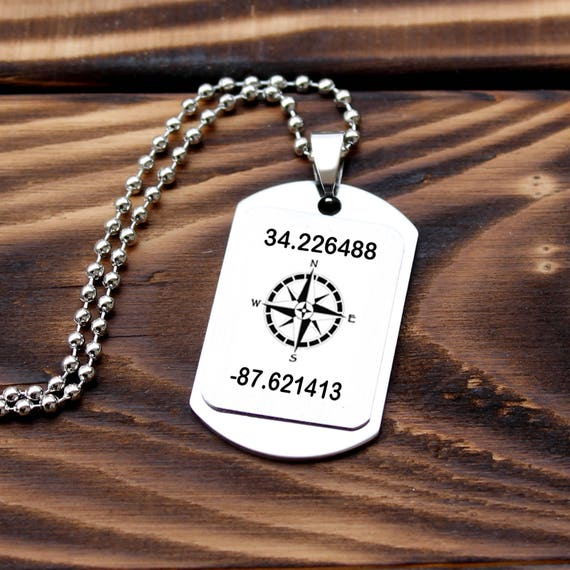 Gps Coordinates Necklace: Personalized Coordinates Necklace GPS Necklace Latitude