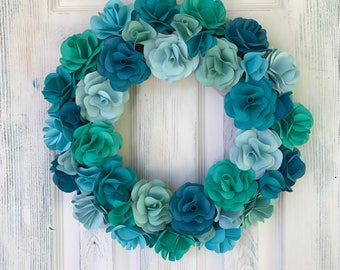 Sea Glass Rose Wreath