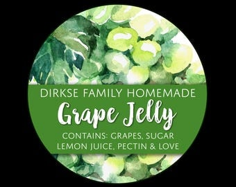 Customized Label - Grape Jelly, Grape Juice Watercolor Style Canning Jar Label - Wide Mouth & Regular Mouth - Watercolor Green Grapes