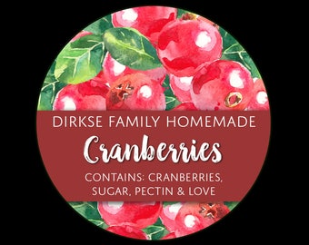 Customized Label - Cranberries, Cranberry Jelly, Watercolor Style Canning Jar Label - Wide Mouth & Regular Mouth - Watercolor Label