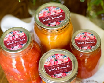Customized Tomato Canning Label - Custom Tomato Sauce Labels - Watercolor Style Canning Jar Label - Wide Mouth & Regular Mouth
