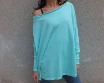 Oversized sweatshirt, Off The Shoulder Sweater, off shoulder sweatshirt, long sleeves, Blue sweatshirt