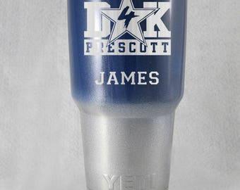 YETI or RTIC Dallas Cowboys Dak Prescott 20 or 30 oz cup custom gift