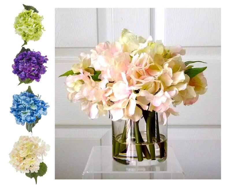 Real Touch Hydrangea-Floral Arrangement-Flower Arrangement-White/Cream Hydrangeas-Silk Faux Arrangement -Fake Flowers-Pink/Cream Flowers