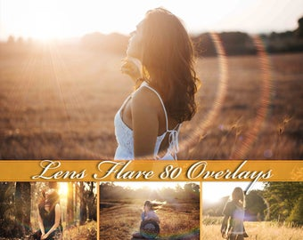 80 Sun Lens Flare Overlays Lens Flare Photoshop Overlays  Sunbeams and Streaks Overlay  Sun Lens Flare Photo Overlays Lens Flare Overlays