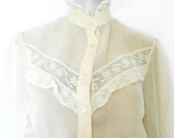 Vintage Blouse - Princess Diana - New Romantic - 1980's - Long Sleeved Blouse
