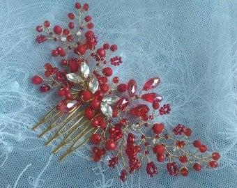 Crystal Hair Comb, bridesmaid hair comb red, bridesmaid hair accessories, redr hair combs, hair combs for wedding, bridesmaid hair piece