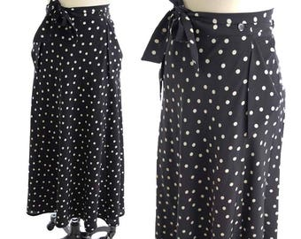 "90s Polka Dot Wrap Skirt- 1990s Black and White Maxi Skirt-Pockets-Crepe-Agnes B--Med-28"" waist"