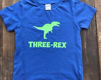Dinosaur Birthday Shirt - Boys Birthday Shirt - Three Rex Shirt - Dinosaur Shirt