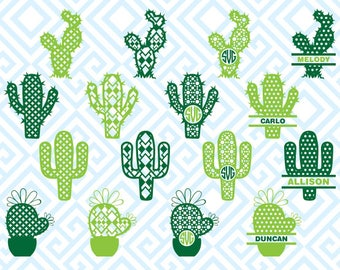 Patterned Cactus Monogram, Digital Cutting Files, Svg Files for Silhouette, Cricut, Cactus SVG, 36luna