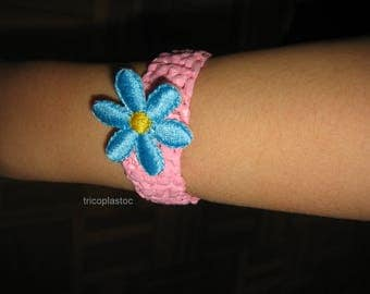 """Cuff, pink crocheted handmade blue flower """"recycled"""""""