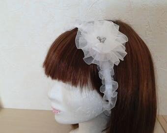 Headband-round neck-wedding - flower brooch white satin organza hair clip