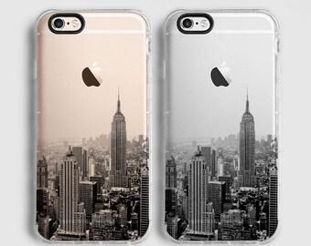 New York iPhone X case, iPhone 7 Plus case, iPhone 6 Plus case, iPhone 6 case, iPhone 7 case,   clear case, black grey C056