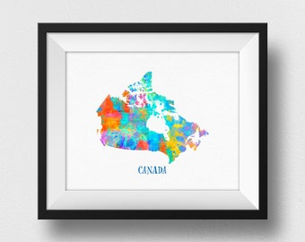 Canada Map Print, Canadian Map Wall Art, Map Of Canada Nursery Decor, Watercolour Map Print, Canadian Home Decor, Kids Room (707)