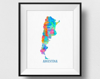 Argentina Map Wall Art, Argentina Map Print, Map Of Argentina Poster, Watercolour Argentina Map, Home Decor, Nursery Argentina Theme (724)