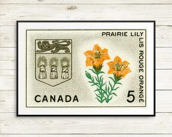 P149 Saskatchewan, Saskatchewan Canada, Sask, SK Canada, Prairie Lily, Provincial Seal, Provincial Flowers, Canada Stamps, Canada Postage