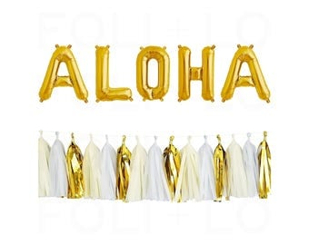 "ALOHA Letter Balloons | 16"" Gold Mylar Letter Balloons 