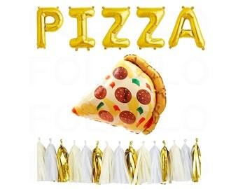 "29"" Pizza Balloon   Pizza Letter Balloons   Pizza Party Decor   Summer Pizza Party   Pizza Lover Party   FOLI + LO on Etsy"
