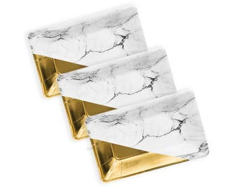 MARBLE Plates | Marble and Gold Metallic Foiled Plates | Classic Party Decoration | Marble Party Theme | Size: 9 x 5.5 inches | Set of 8