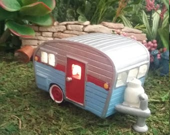 Fairy Garden Miniature Camper Camping Trailer Light Up