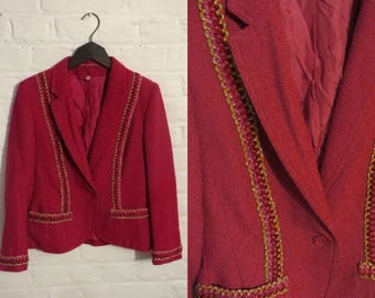 "1970s Colette ""Wolfgang Kaiser"" vintage pink and gold blazer jacket - UK 10 EU 38 US 8 - Seventies Glam Disco"