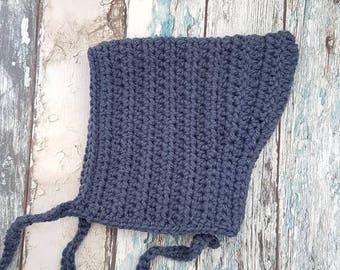 Crochet baby bonnet // pixie bonnet // baby pixie bonnet // blue bonnet