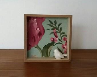 porcelain bird wooden frame