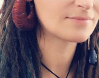 Handmade Burgandy Earth / Nature Ear Weights for Stretched /Gauged / Tunnels / Hangers / Plug Ears