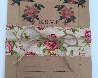 Vintage rose style rustic invitation